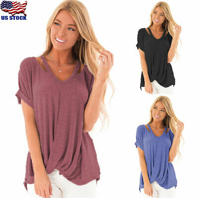 Twisted Knot Top - US Summer Womens Cold Shoulder Knot Twist Blouse Casual Short Sleeve T-shirt Top