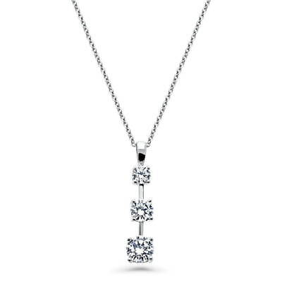 BERRICLE Sterling Silver Round CZ 3-Stone Graduated Wedding Pendant Necklace 3 Stone Sterling Silver Necklace