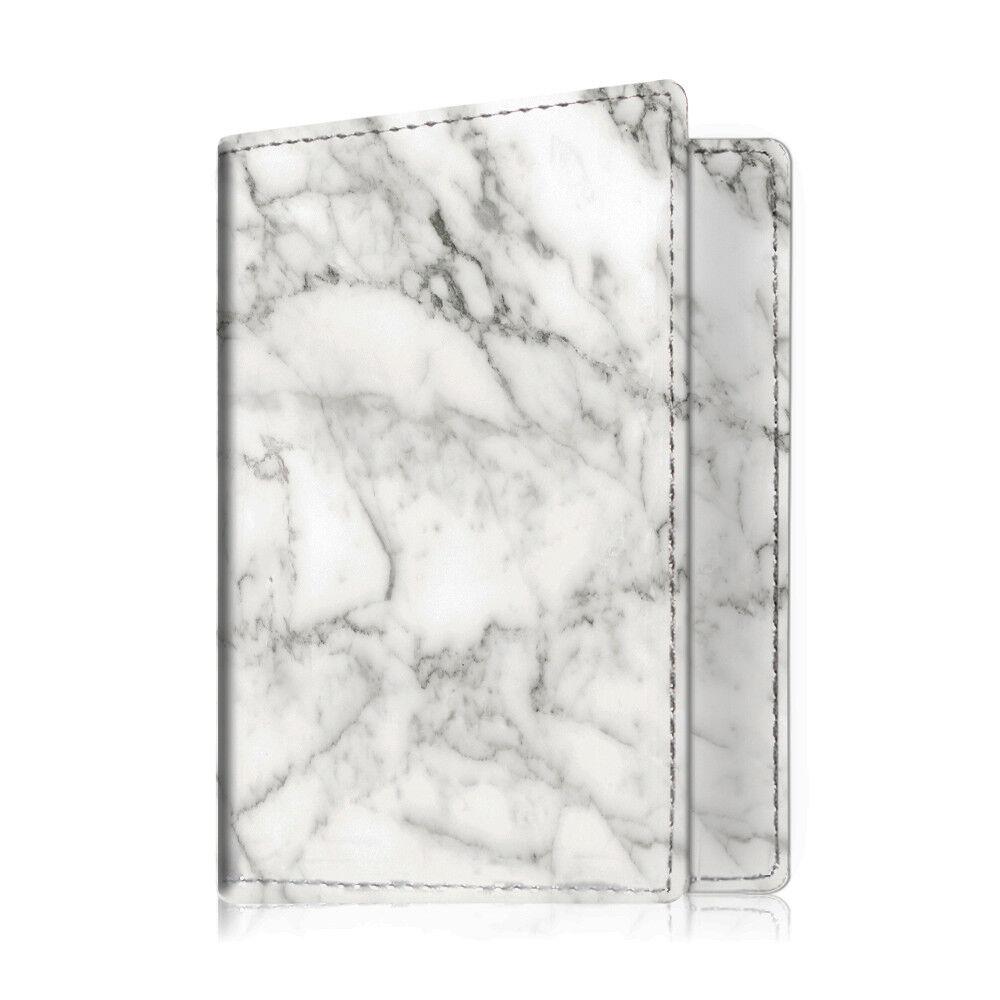 Travel Passport Holder Wallet Holder RFID Blocking Vegan Leather Card Case Cover Marble