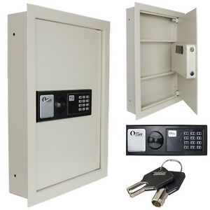 0 8 Electronic Flat Recessed Large Wall Safe Secure Gun