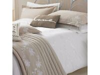 Lily White Embroidered Double Duvet Cover by Kirstie Allsopp - Brand New In Packaging