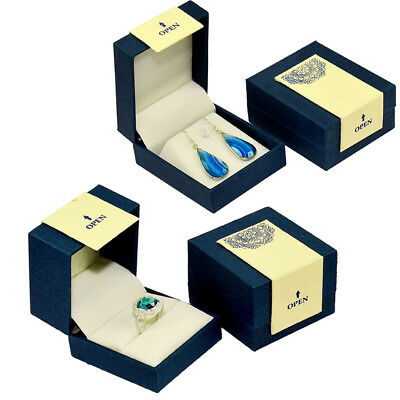 (Elegant Blue and Ivory Jewelry Box Perfect for Rings,Earrings and Pendants )