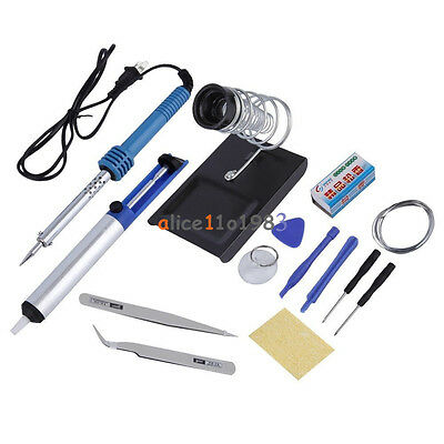 14in1 60w 110v Electric Soldering Tools Kit Set Iron Stand Desoldering Pump