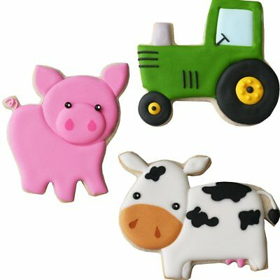 Farm Tractor, Cow, and Pig Cookie Cutter Set - 53-1057](Pig And Cookies)