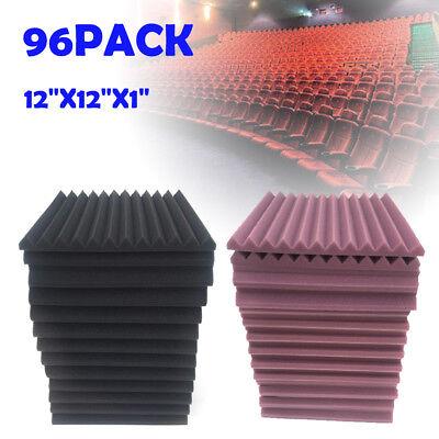 "96X Foam Acoustic Panels Studio Soundproofin Foam Wedge Tile 1""x12""x12"" 2.5cm/1"""