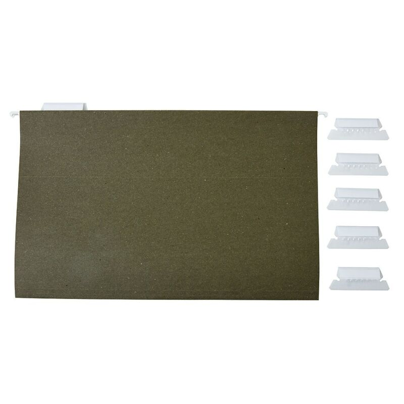 Staples Hanging File Folders 5 Tab Legal Size Standard Green 50/BX 490853