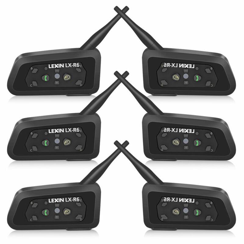 6PCS LX-R6 Motorcycle intercom helmet Bluetooth headset  for 6 Riders Waterproof