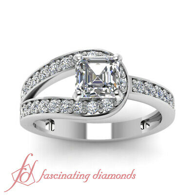 .65 Ct Asscher Cut:Very Good Diamond Split Pave Set Engagement Ring 14K VVS2 GIA 1