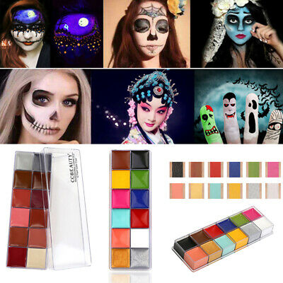 12 Colors Professional Face Paint Oil Fancy Make Up Halloween Art Party Palettes - Apply Halloween Makeup