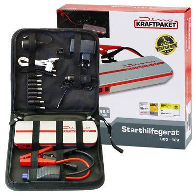 Dino KRAFTPAKET 600A 12V Mobile Batterie Starthilfe mit Powerbank Booster Mobile Batterie Pack