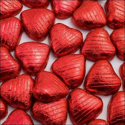 Red Foiled Wrap Solid Milk Chocolate Hearts 50 Pieces Wedding Engagement Favours - Foil Wrapped Chocolate Square