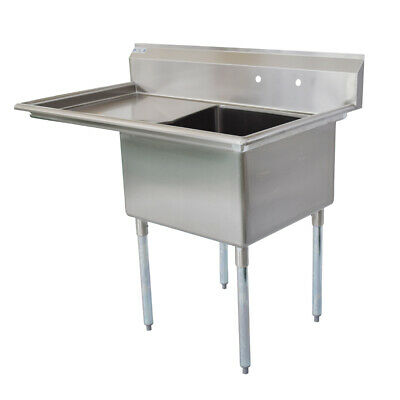 38 12 18-ga Ss304 One Compartment Commercial Sink Right Drainboard