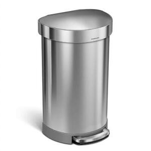 NEW simplehuman CW2030 Semi-Round Step Trash Can with Liner Rim, Stainless Steel, 45 L/10.5 gallon Condtion: New, 45 ...