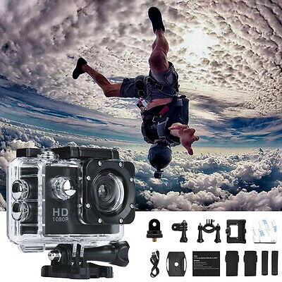 Black 1080P HD  MJPEG 2 inch LCD IP68 30m Waterproof Sports Action Camera DVR