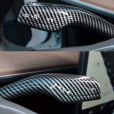 Glossy Carbon Fiber Steering Wheel Paddle Shift Trim Cover For Tesla Model 3 Y