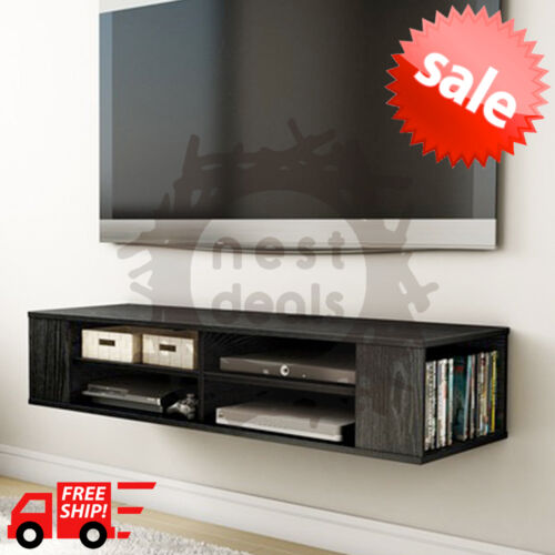 wall mount media center shelf floating entertainment console tv stand cabinet ebay. Black Bedroom Furniture Sets. Home Design Ideas