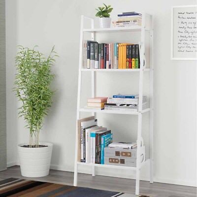 Wall Bookcase (4-Tier Bookcase Bookshelf Leaning Wall Shelf Ladder Storage Display)