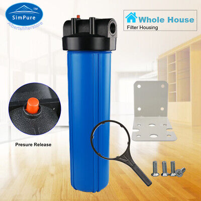 """Whole House 20"""" Big Blue Water Filter Housing 1"""" Inlet/Outlet + Wrench & Bracket"""