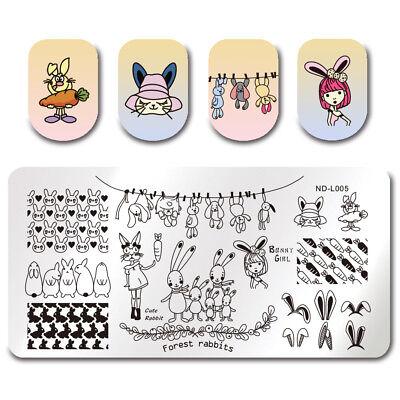 Bunny Rabbit Template (NICOLE DIARY Nail ArtStamping Plate Bunny Rabbit Carrot  Image Template)