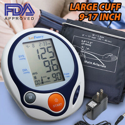 LotFancy Arm Blood Pressure Monitor Large BP Cuff Tester Meter AC Power Adapter