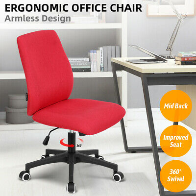 Mid Back Armless Office Task Chair Bar Stool Swivel Adjustable Home Office Red