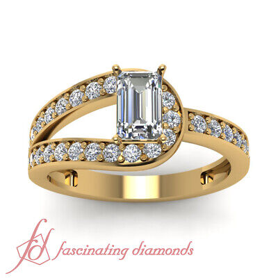 1.25 Ct Emerald Cut Bypass Diamond Wedding Rings For Women In Yellow Gold GIA 1
