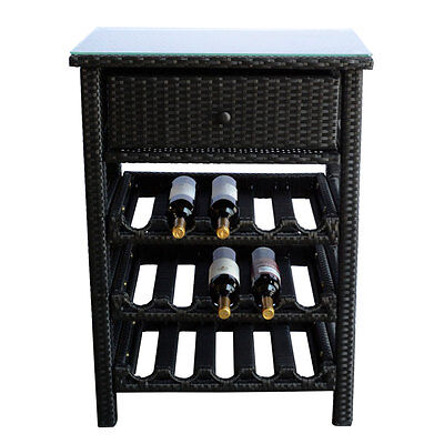 Wine Bar Wicker Rack 15 Bottle Holders Liquor Shelves Buffet Cabinet Glass Top