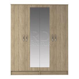 Beatrice 4 door mirrored wardrobe oak