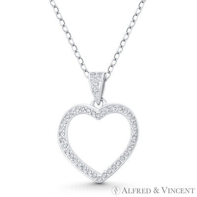 Heart CZ Crystal 925 Sterling Silver Rhodium Necklace Pendant Love Charm Jewelry