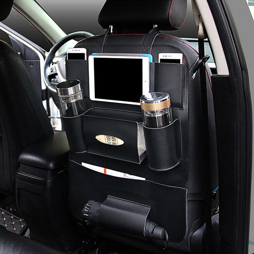 Truck Seat Organizer >> Details About Universal Car Suv Auto Pu Leather Seat Back Organizer Holder Storage Cover Black