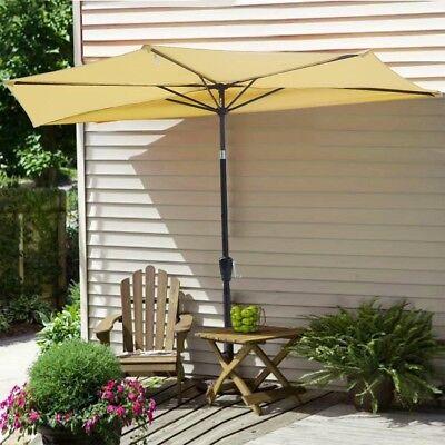 10' Patio Outdoor Aluminum Half Umbrella Cafe Restaurant Sun Shade Parasol Beige ()