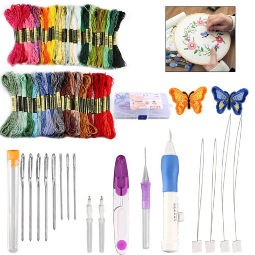 Magic DIY Embroidery Pen Knitting Sewing Tool Kit Punch Needles 50 Threads Set - $14.78
