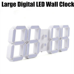 Large LED Digital Clock 3D Stereo Wall Clock Aluminum Alloy Timer Remote Control