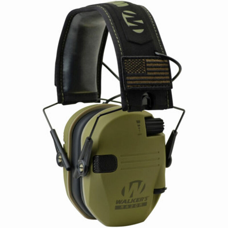 Walkers Razor Slim Shooter Electronic Ear Protection Muffs, Green Patriot