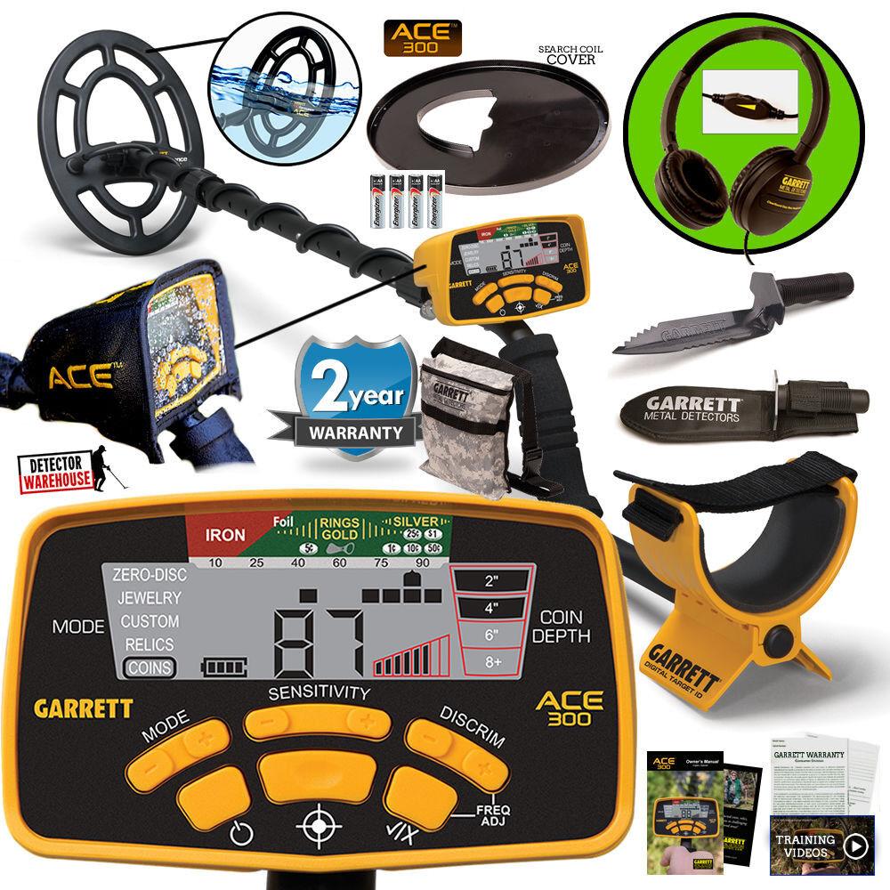 Garrett ACE 300 Metal Detector Waterproof Coil, Headphones & Edge Digger & Pouch