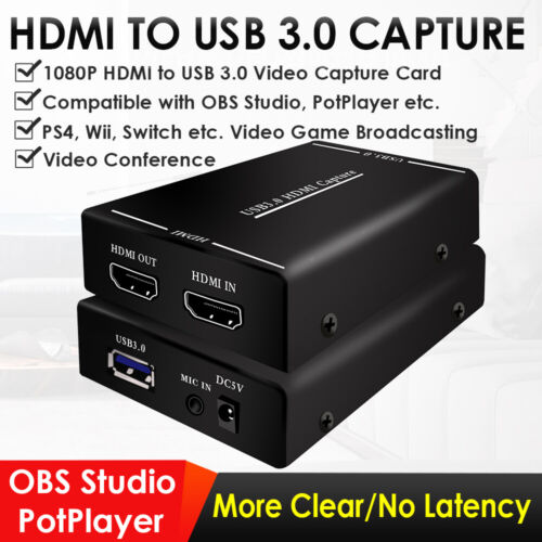 1080P HDMI TO USB3.0 Game/Video Capture Card for Live Stream
