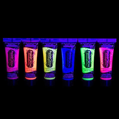UV GLITTER Glow In The Dark BODY & FACE PAINT Party Rave Festival Club Halloween (Halloween Glow In The Dark Face Paint)