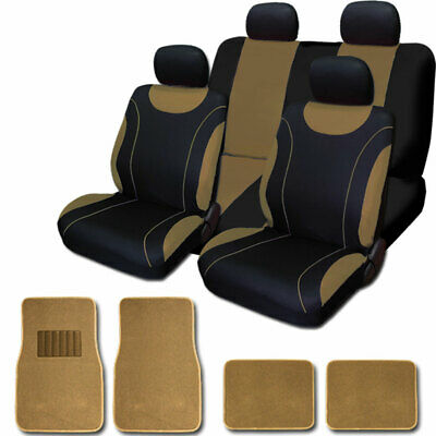 For Ford New Flat Cloth Black and Tan Car Seat Covers Floor Mats Set