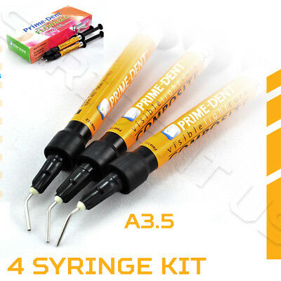 Prime Dent Vlc Light Cure Flowable Composite A3.5 - 4 - 2 Gram Syringes 004-010