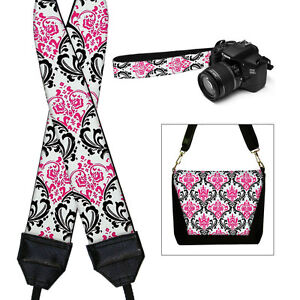 DSLR Camera Strap SLR Camera Neck Strap for Women Pink Damask / Janine King USA