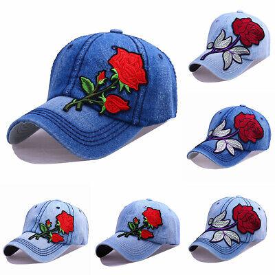 Applique Cap (unisex Women cowboy Adjustable Rose Applique Baseball Cap With drill Hat)
