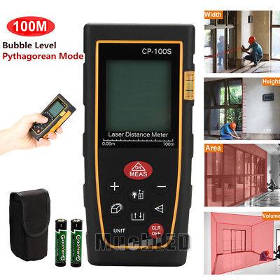 100m 328ft Digital Lcd Laser Distance Meter Range Finder Measure Tape Tool Usa