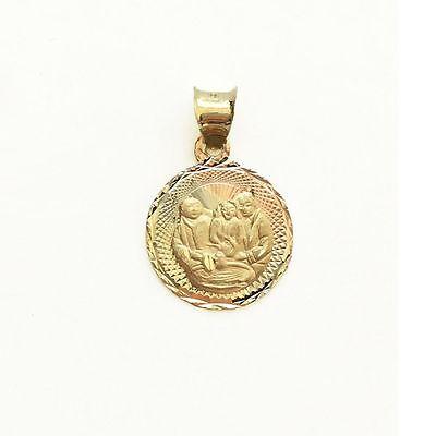 10K Solid Yellow White Rose Gold Baptism Round Medal Pendant - Necklace - Gold Baptism Medal