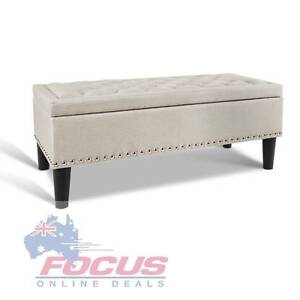 Linen Fabric Storage Ottoman with Studs – Taupe Melbourne CBD Melbourne City Preview