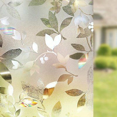 Rabbitgoo 3D privacy window film for office no glue Decorative Leaf 35.4x78.7In.](Office Window Decorations)