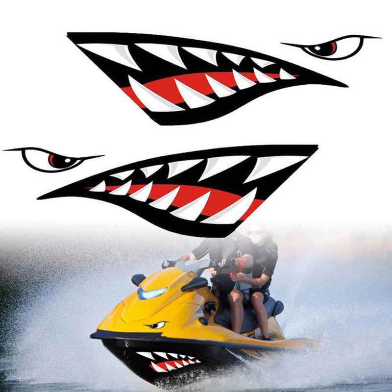 2x Vinyl Shark Teeth Mouth Funny Decal Kayak Boat Dinghy Jet Ski Car Sticker