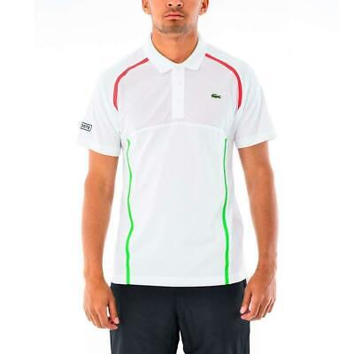 NWT Lacoste Sport Mens w/Racing Stripes Ultra Dry Upper Mesh buttons Polo Shirt