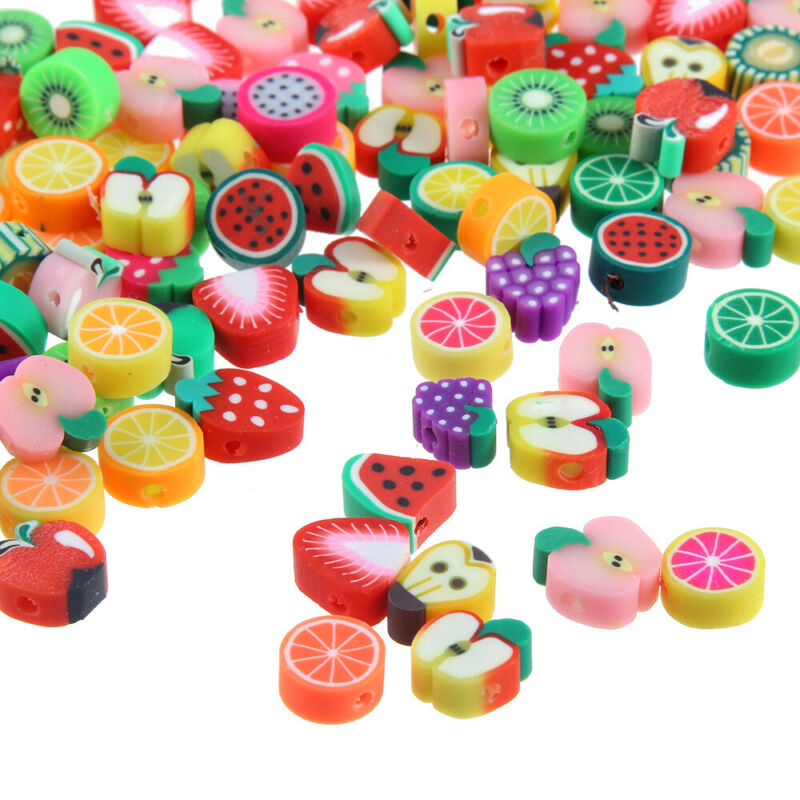 100pcs/lot 10mm Polymer Clay Mixed Fruits Spacer Beads for DIY Jewelry Making