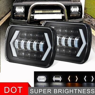Pair 7x6 LED Headlights Seal Hi Lo Beam Halo DRL H4 For Jeep Cherokee Sport XJ