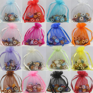 Wholesale 25/50/100X Organza Jewelry Packing Pouch Wedding Favor Gift Bags 9x7cm
